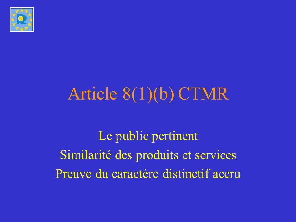 Le public pertinent T-79/07, 26 juin 2008, POLARIS / POLAR, § 27 T-328/05, 1 juillet 2008, QUARTZ / QUARTZ, § 21-23 le public pertinent pour lappréciation du risque de confusion est constitué par les utilisateurs susceptibles dutiliser tant les produits et les services visés par la marque antérieure que le produit visé par la marque demandée POLAR QUARTZ