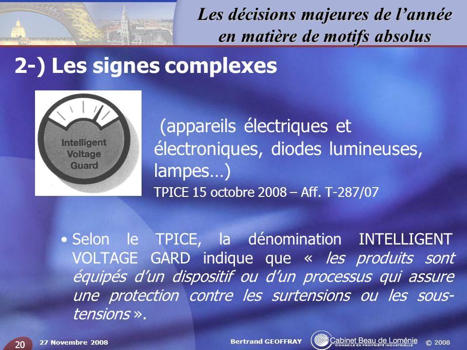 © 2008 Les décisions majeures de lannée en matière de motifs absolus 27 Novembre 2008 Bertrand GEOFFRAY 20 2-) Les signes complexes – (appareils élect