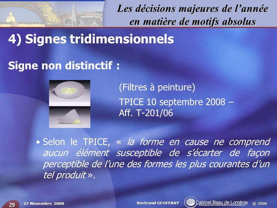 © 2008 Les décisions majeures de lannée en matière de motifs absolus 27 Novembre 2008 Bertrand GEOFFRAY 29 4) Signes tridimensionnels Signe non distin