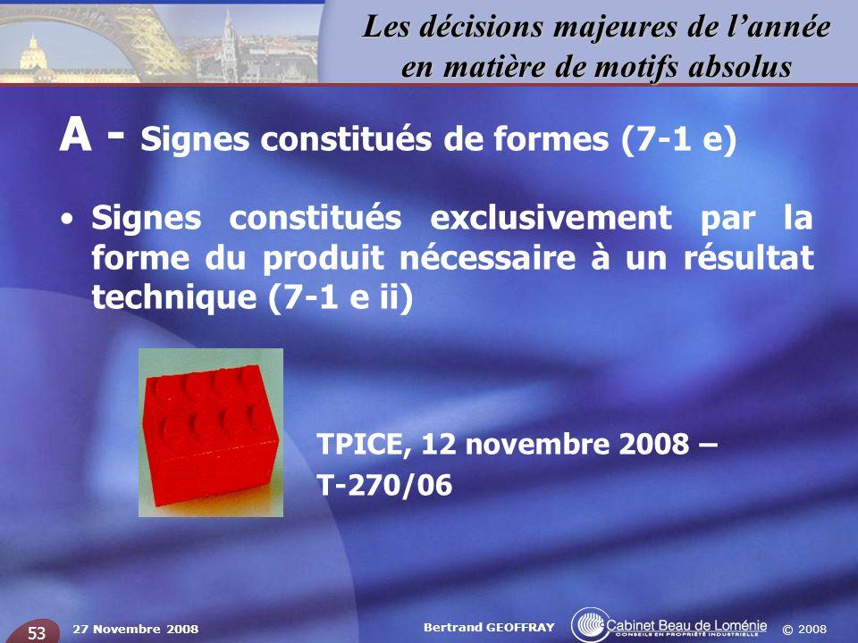 © 2008 Les décisions majeures de lannée en matière de motifs absolus 27 Novembre 2008 Bertrand GEOFFRAY 53 A - Signes constitués de formes (7-1 e) Sig