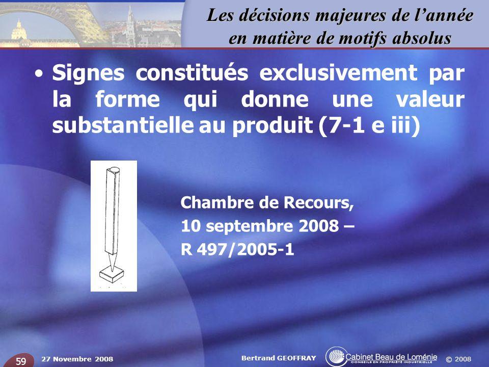© 2008 Les décisions majeures de lannée en matière de motifs absolus 27 Novembre 2008 Bertrand GEOFFRAY 59 Signes constitués exclusivement par la form