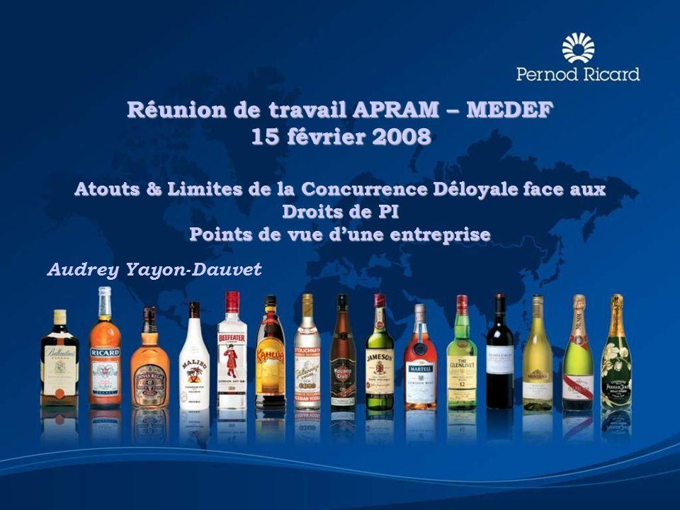 Réunion de travail APRAM – MEDEF 15 février 2008 Atouts & Limites de la Concurrence Déloyale face aux Droits de PI Points de vue dune entreprise Audre
