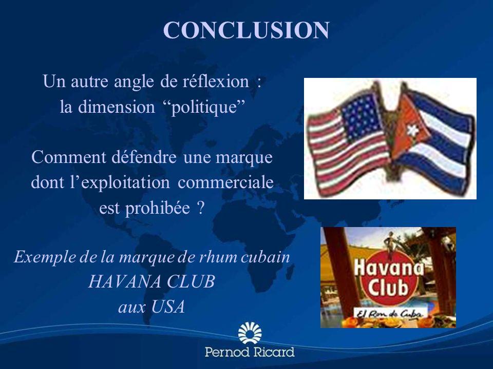 CONCLUSION Un autre angle de réflexion : la dimension politique Comment défendre une marque dont lexploitation commerciale est prohibée ? Exemple de l