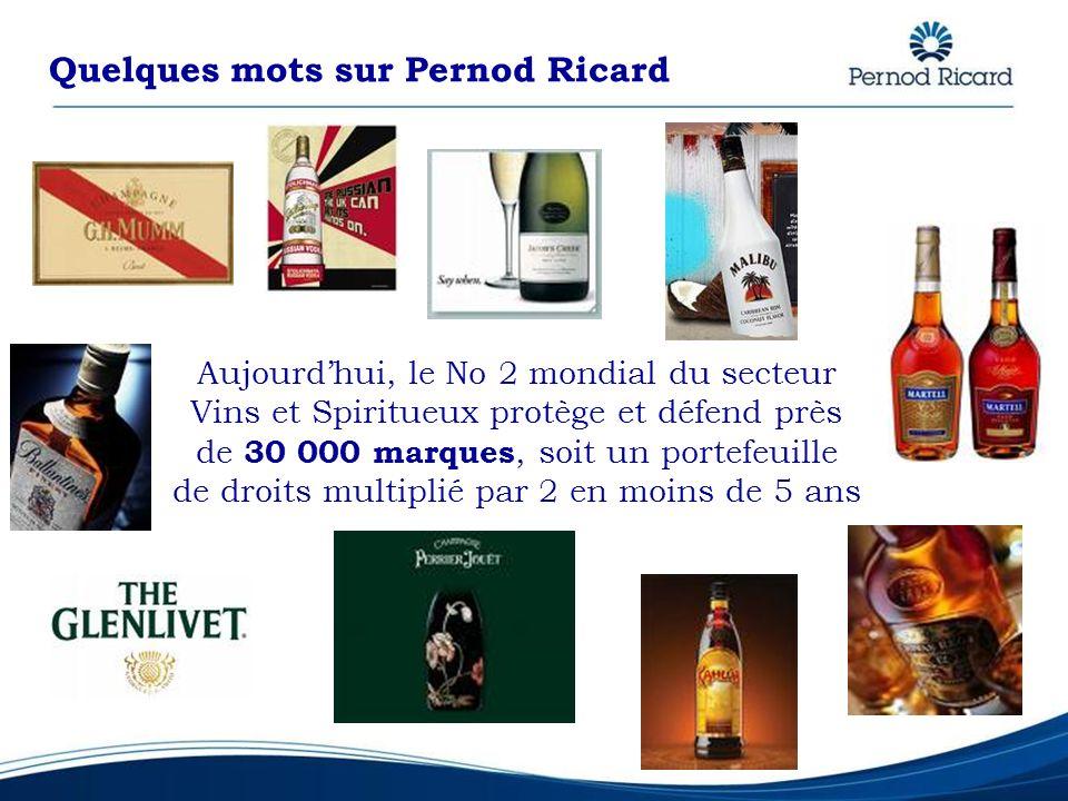 Quelques mots sur Pernod Ricard Aujourdhui, le No 2 mondial du secteur Vins et Spiritueux protège et défend près de 30 000 marques, soit un portefeuil