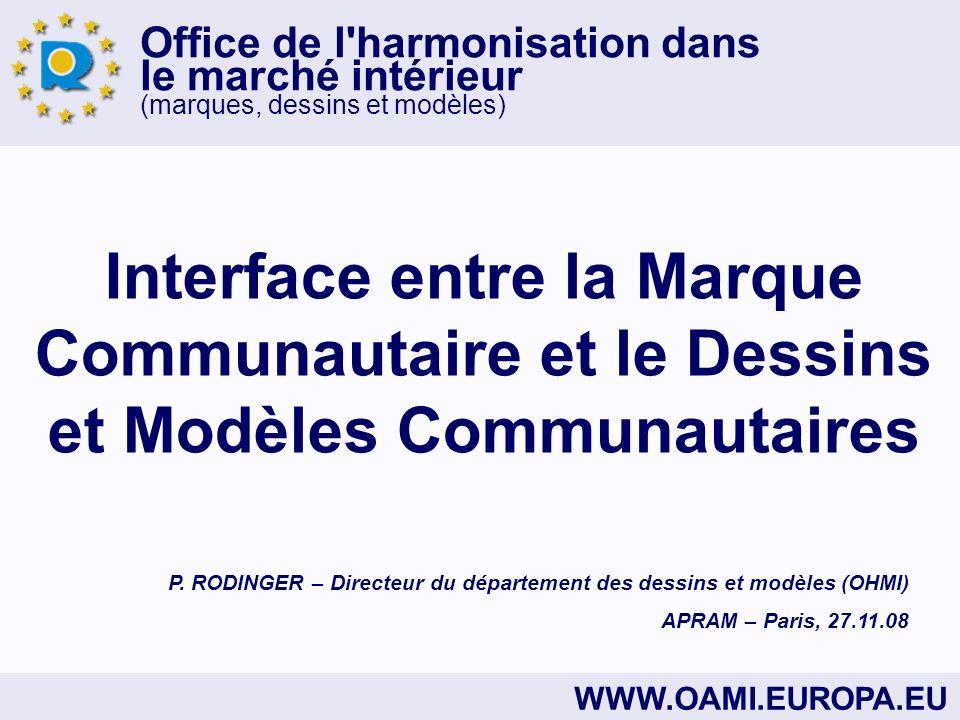 Office de l harmonisation dans le marché intérieur (marques, dessins et modèles) WWW.OAMI.EUROPA.EU Interface entre la Marque Communautaire et le Dessins et Modèles Communautaires P.