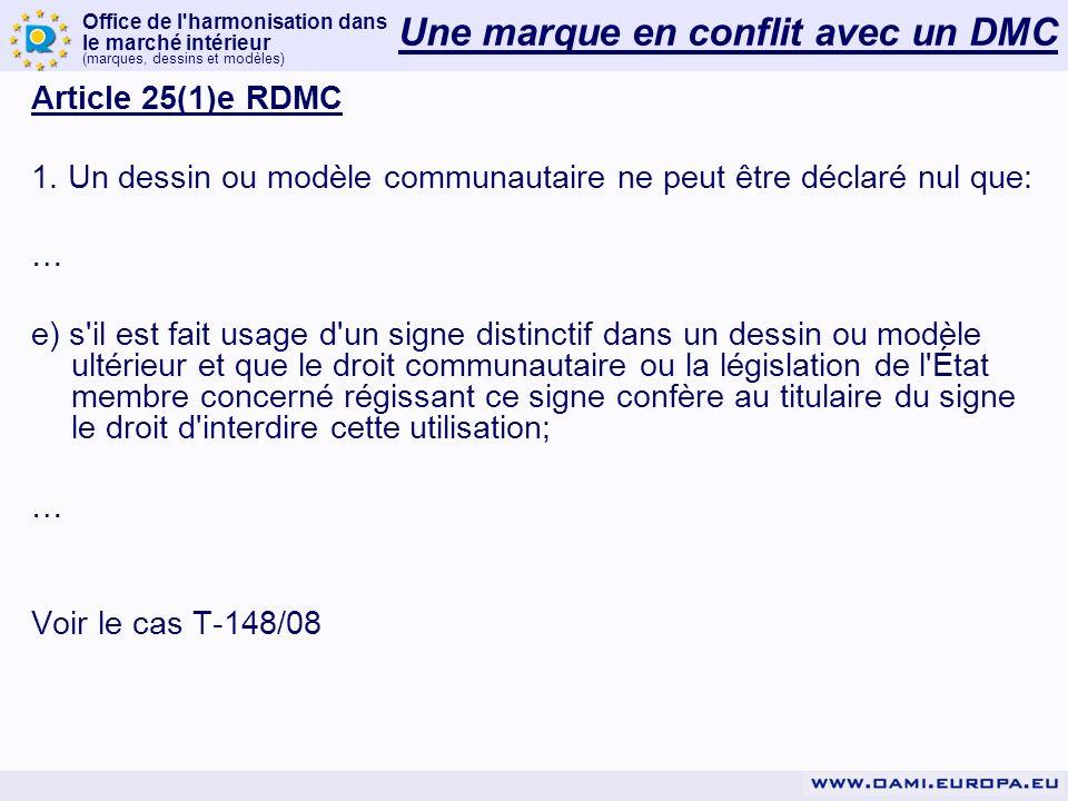 Office de l'harmonisation dans le marché intérieur (marques, dessins et modèles) Article 25(1)e RDMC 1. Un dessin ou modèle communautaire ne peut être