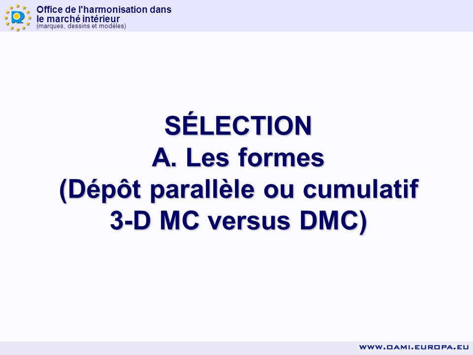 Office de l'harmonisation dans le marché intérieur (marques, dessins et modèles) SÉLECTION A. Les formes (Dépôt parallèle ou cumulatif 3-D MC versus D