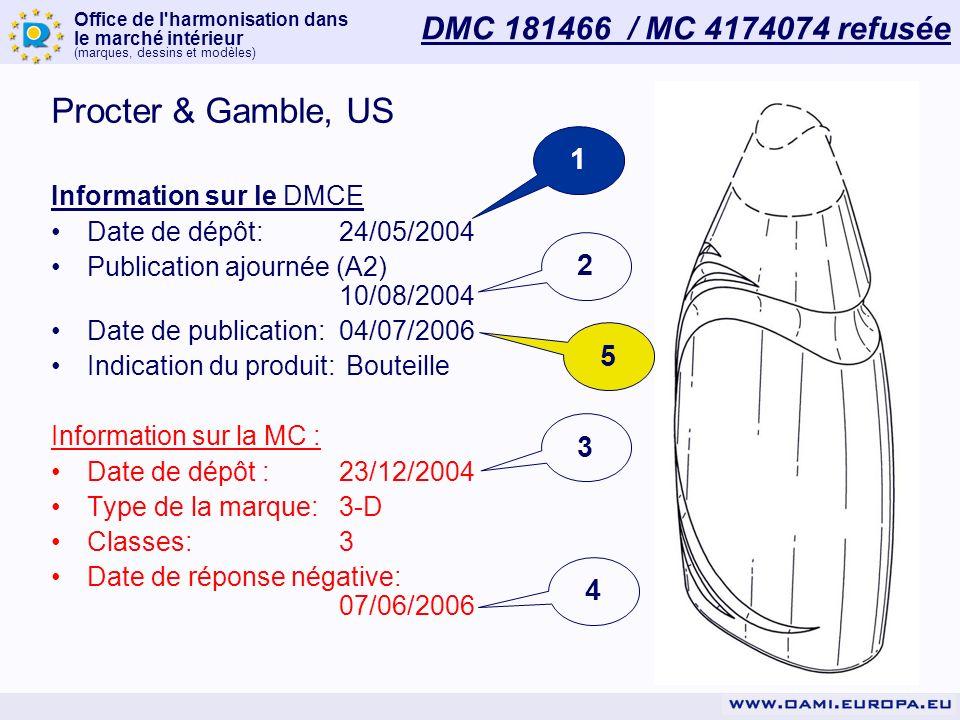 Office de l harmonisation dans le marché intérieur (marques, dessins et modèles) DMC 181466 / MC 4174074 refusée Procter & Gamble, US Information sur le DMCE Date de dépôt:24/05/2004 Publication ajournée (A2) 10/08/2004 Date de publication:04/07/2006 Indication du produit: Bouteille Information sur la MC : Date de dépôt :23/12/2004 Type de la marque:3-D Classes:3 Date de réponse négative: 07/06/2006 1 2 4 3 5