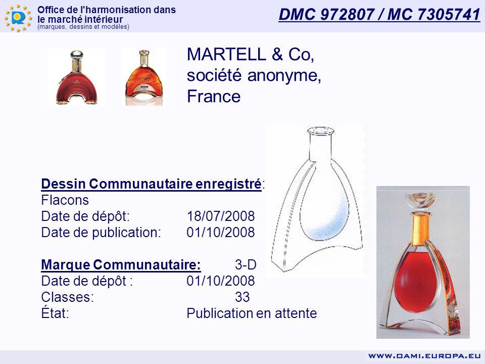 Office de l harmonisation dans le marché intérieur (marques, dessins et modèles) MARTELL & Co, société anonyme, France Dessin Communautaire enregistré: Flacons Date de dépôt:18/07/2008 Date de publication:01/10/2008 Marque Communautaire:3-D Date de dépôt :01/10/2008 Classes:33 État:Publication en attente DMC 972807 / MC 7305741