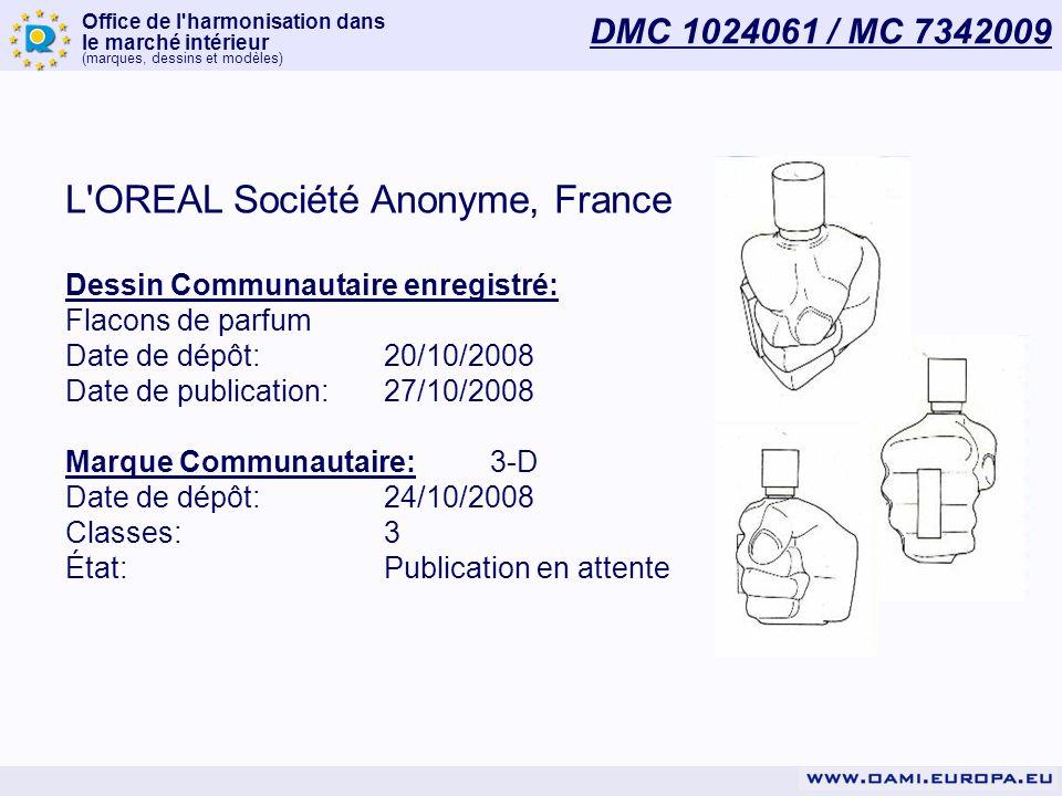 Office de l'harmonisation dans le marché intérieur (marques, dessins et modèles) DMC 1024061 / MC 7342009 L'OREAL Société Anonyme, France Dessin Commu