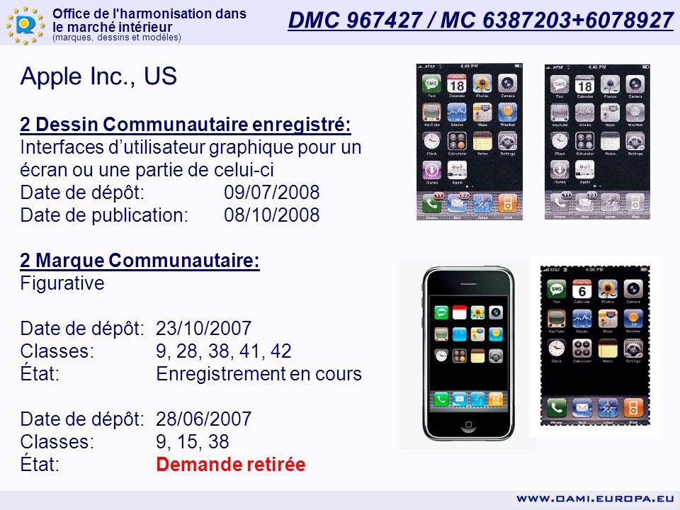 Office de l harmonisation dans le marché intérieur (marques, dessins et modèles) DMC 967427 / MC 6387203+6078927 Apple Inc., US 2 Dessin Communautaire enregistré: Interfaces dutilisateur graphique pour un écran ou une partie de celui-ci Date de dépôt:09/07/2008 Date de publication:08/10/2008 2 Marque Communautaire: Figurative Date de dépôt:23/10/2007 Classes:9, 28, 38, 41, 42 État:Enregistrement en cours Date de dépôt:28/06/2007 Classes:9, 15, 38 État:Demande retirée