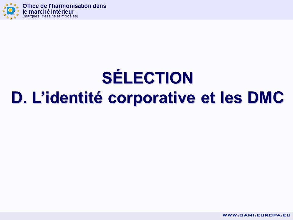 Office de l'harmonisation dans le marché intérieur (marques, dessins et modèles) SÉLECTION D. Lidentité corporative et les DMC
