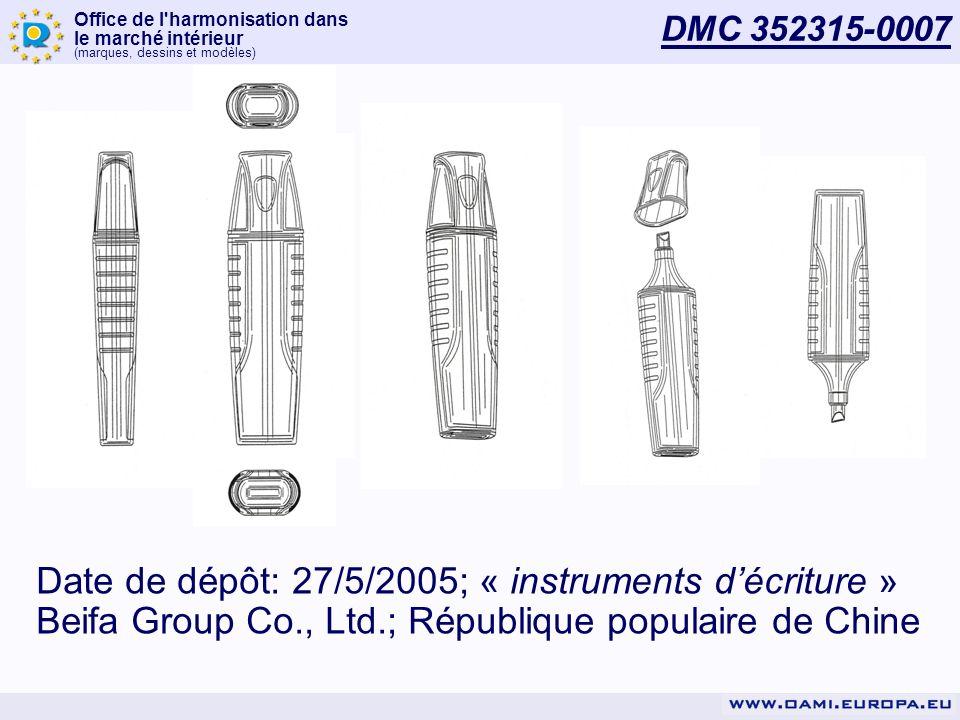 Office de l harmonisation dans le marché intérieur (marques, dessins et modèles) DMC 352315-0007 Date de dépôt: 27/5/2005; « instruments décriture » Beifa Group Co., Ltd.; République populaire de Chine