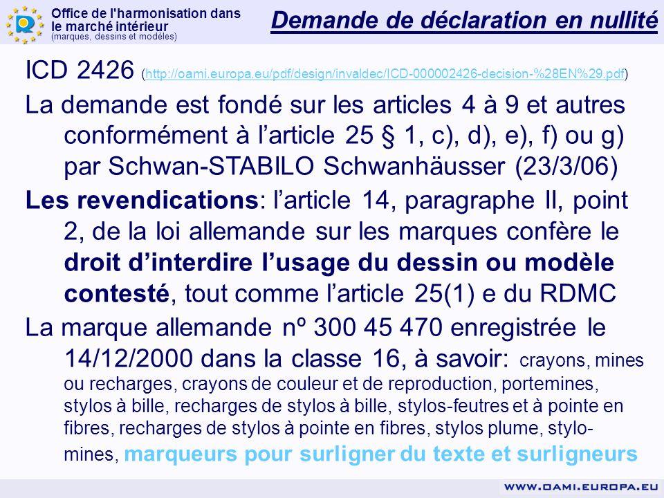 Office de l harmonisation dans le marché intérieur (marques, dessins et modèles) Demande de déclaration en nullité ICD 2426 (http://oami.europa.eu/pdf/design/invaldec/ICD-000002426-decision-%28EN%29.pdf)http://oami.europa.eu/pdf/design/invaldec/ICD-000002426-decision-%28EN%29.pdf La demande est fondé sur les articles 4 à 9 et autres conformément à larticle 25 § 1, c), d), e), f) ou g) par Schwan-STABILO Schwanhäusser (23/3/06) Les revendications: larticle 14, paragraphe II, point 2, de la loi allemande sur les marques confère le droit dinterdire lusage du dessin ou modèle contesté, tout comme larticle 25(1) e du RDMC La marque allemande nº 300 45 470 enregistrée le 14/12/2000 dans la classe 16, à savoir: crayons, mines ou recharges, crayons de couleur et de reproduction, portemines, stylos à bille, recharges de stylos à bille, stylos-feutres et à pointe en fibres, recharges de stylos à pointe en fibres, stylos plume, stylo- mines, marqueurs pour surligner du texte et surligneurs