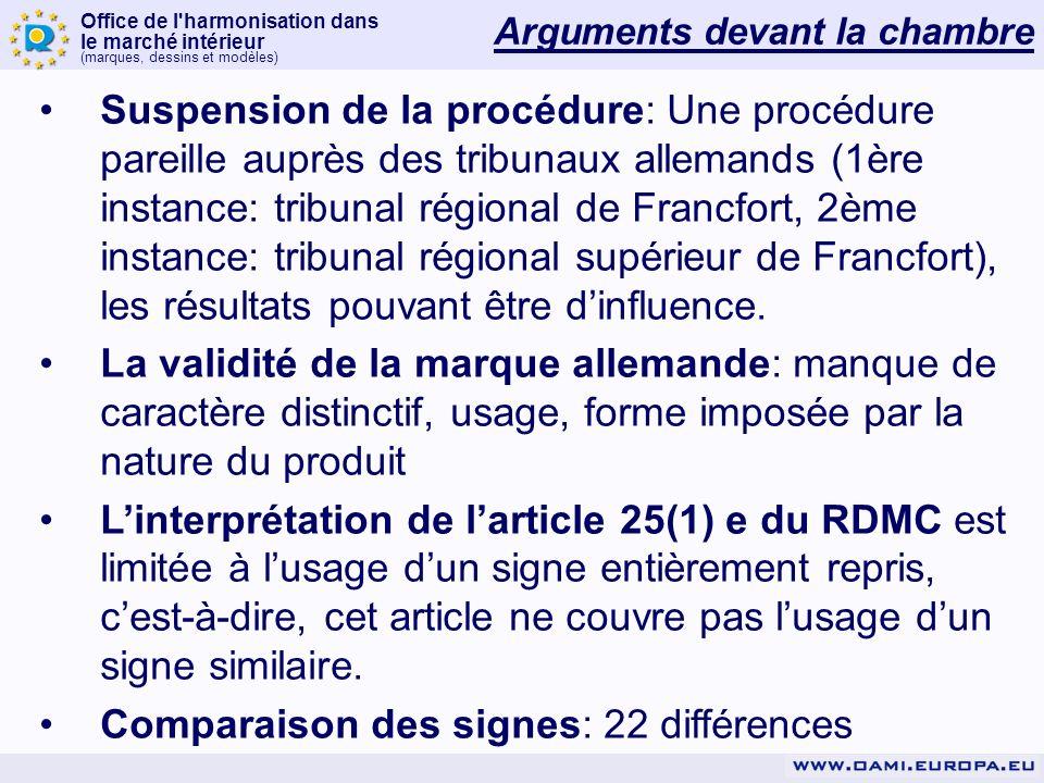Office de l'harmonisation dans le marché intérieur (marques, dessins et modèles) Arguments devant la chambre Suspension de la procédure: Une procédure