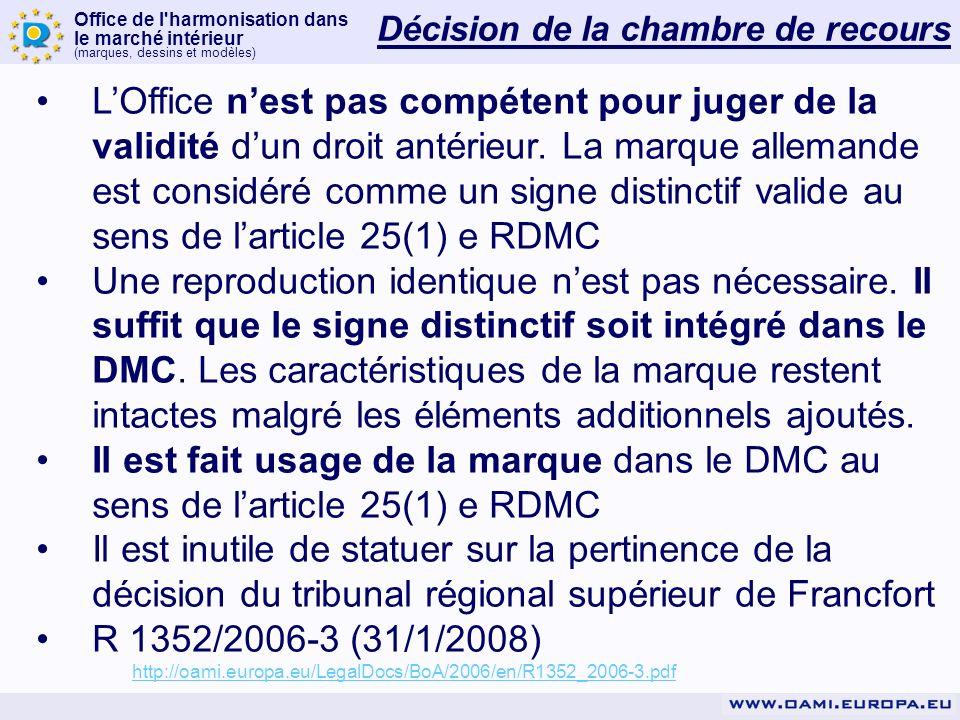 Office de l harmonisation dans le marché intérieur (marques, dessins et modèles) Décision de la chambre de recours LOffice nest pas compétent pour juger de la validité dun droit antérieur.