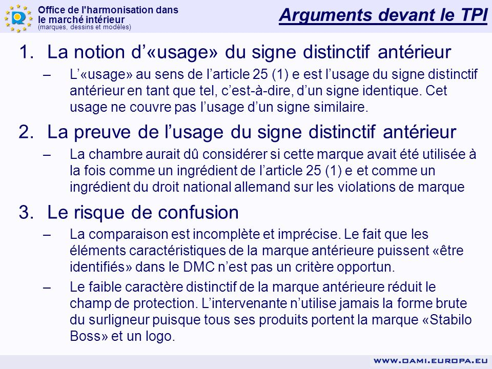 Office de l'harmonisation dans le marché intérieur (marques, dessins et modèles) Arguments devant le TPI 1.La notion d«usage» du signe distinctif anté