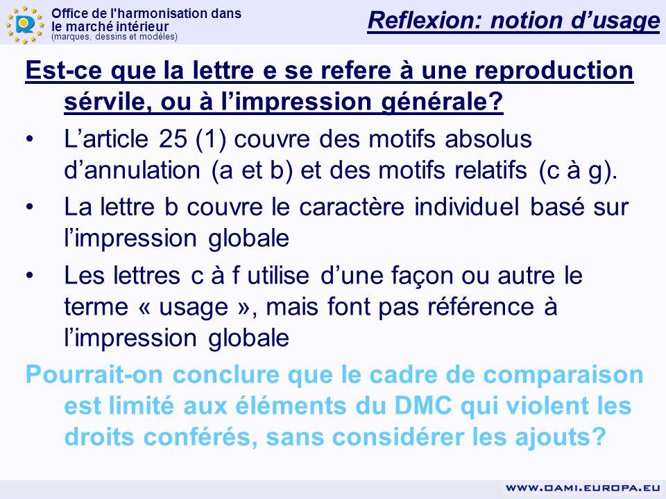 Office de l harmonisation dans le marché intérieur (marques, dessins et modèles) Reflexion: notion dusage Est-ce que la lettre e se refere à une reproduction sérvile, ou à limpression générale.