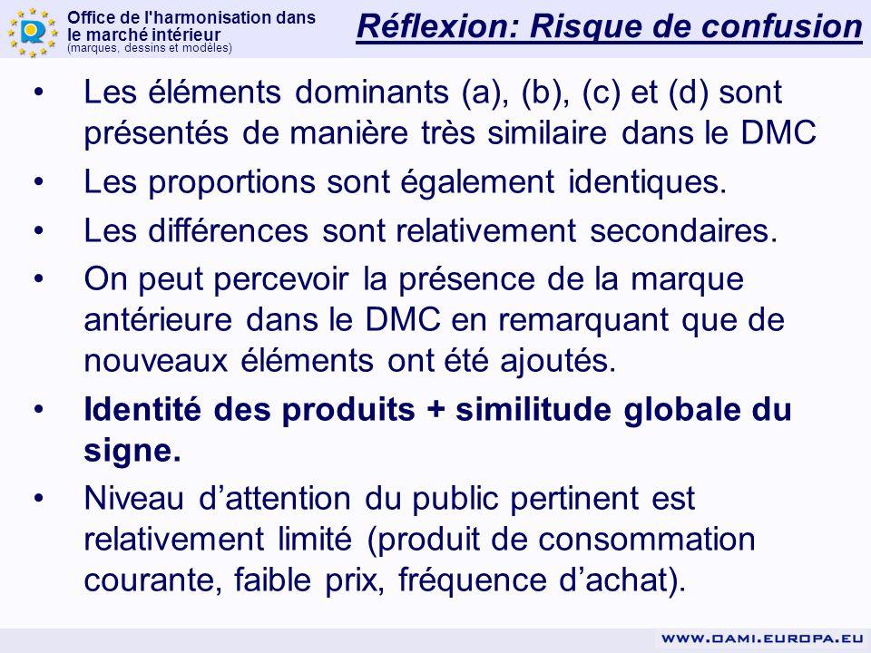 Office de l harmonisation dans le marché intérieur (marques, dessins et modèles) Les éléments dominants (a), (b), (c) et (d) sont présentés de manière très similaire dans le DMC Les proportions sont également identiques.