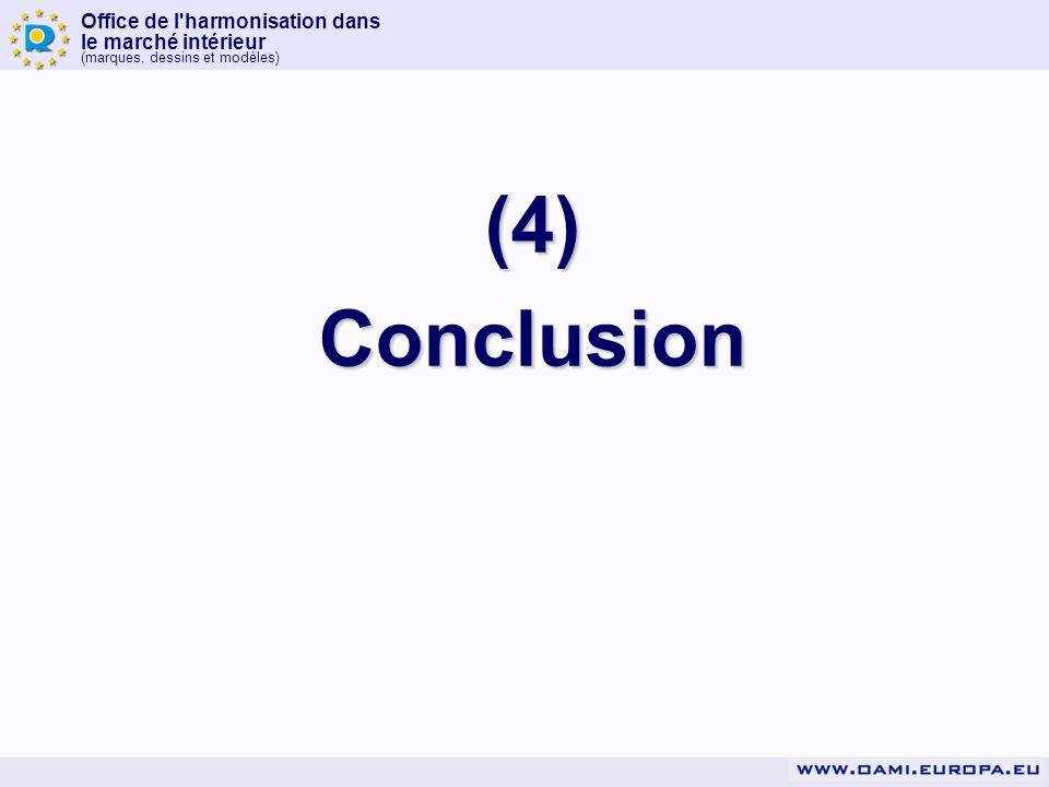 Office de l'harmonisation dans le marché intérieur (marques, dessins et modèles) (4)Conclusion