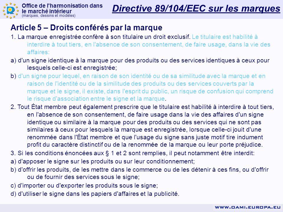 Office de l harmonisation dans le marché intérieur (marques, dessins et modèles) Directive 89/104/EEC sur les marques Article 5 – Droits conférés par la marque 1.