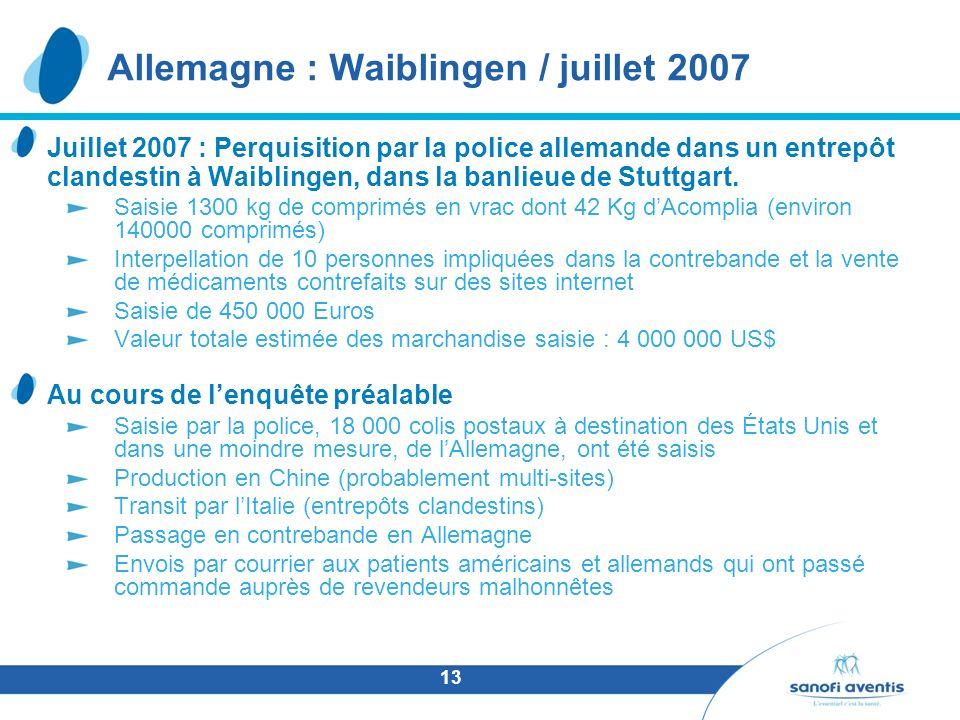 13 Allemagne : Waiblingen / juillet 2007 Juillet 2007 : Perquisition par la police allemande dans un entrepôt clandestin à Waiblingen, dans la banlieu