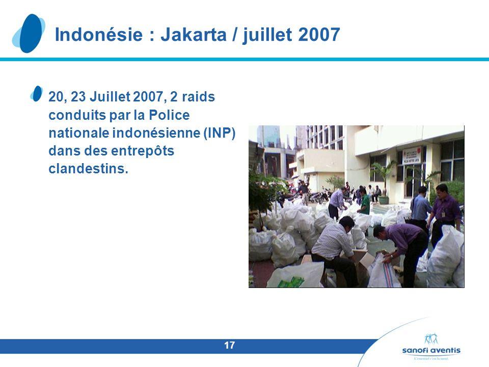 17 20, 23 Juillet 2007, 2 raids conduits par la Police nationale indonésienne (INP) dans des entrepôts clandestins.