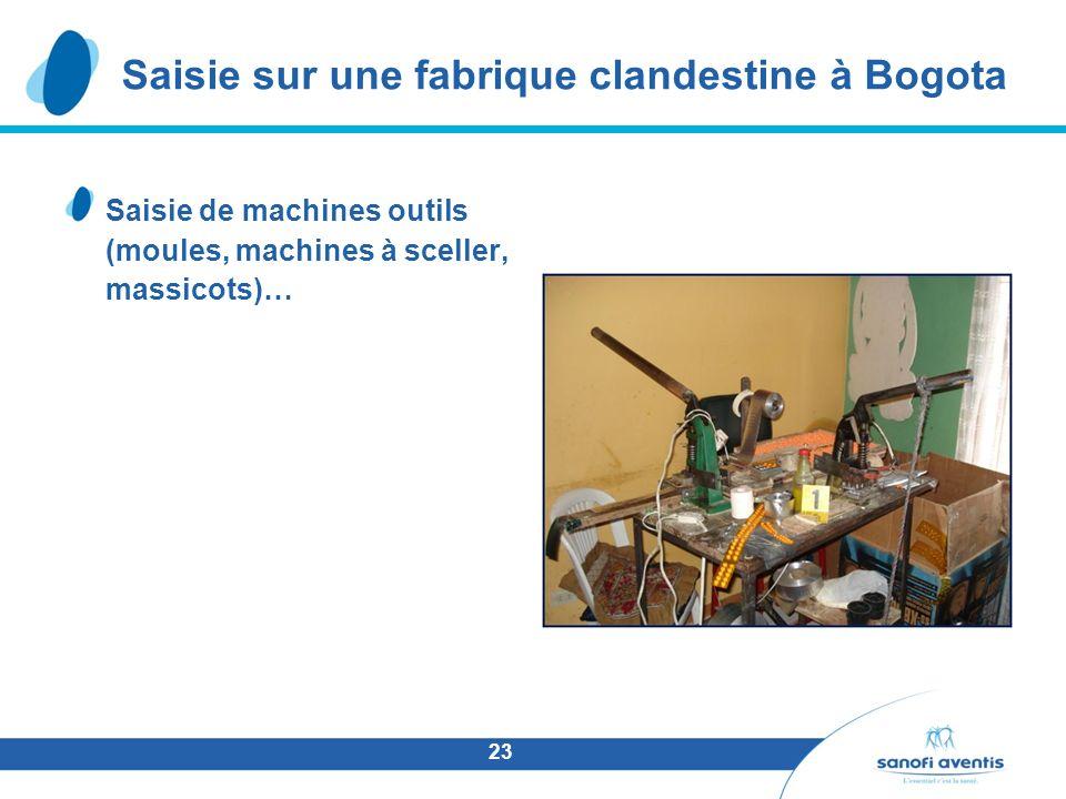 23 Saisie de machines outils (moules, machines à sceller, massicots)… Saisie sur une fabrique clandestine à Bogota