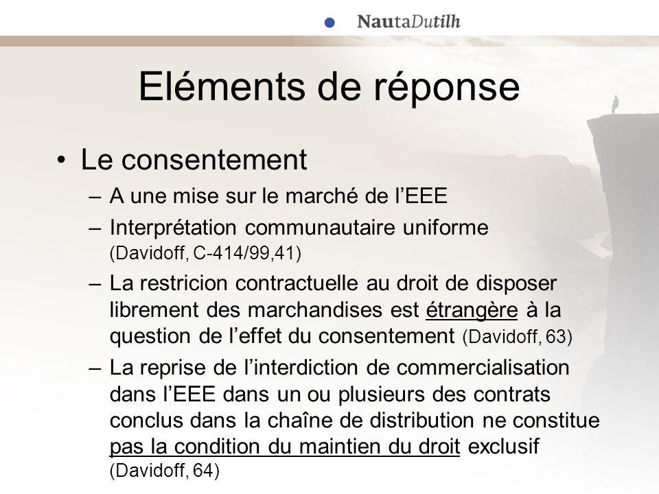 Eléments de réponse Le consentement –A une mise sur le marché de lEEE –Interprétation communautaire uniforme (Davidoff, C-414/99,41) –La restricion co