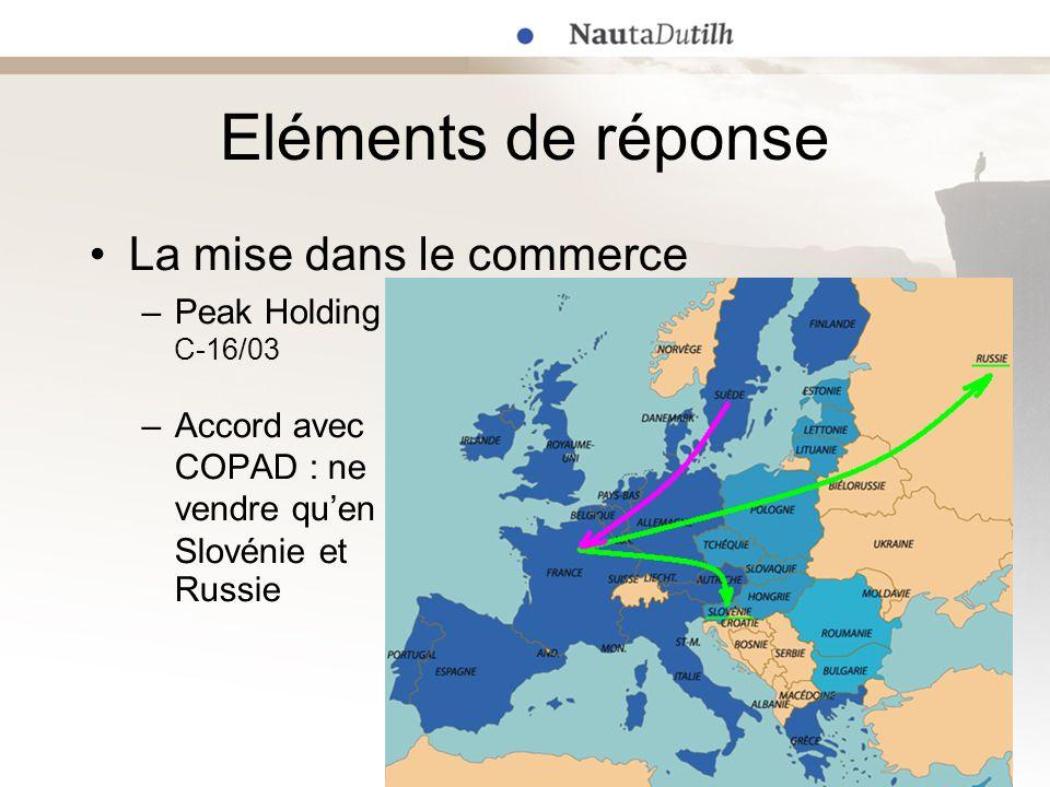 Eléments de réponse La mise dans le commerce –Peak Holding C-16/03 –Accord avec COPAD : ne vendre quen Slovénie et Russie