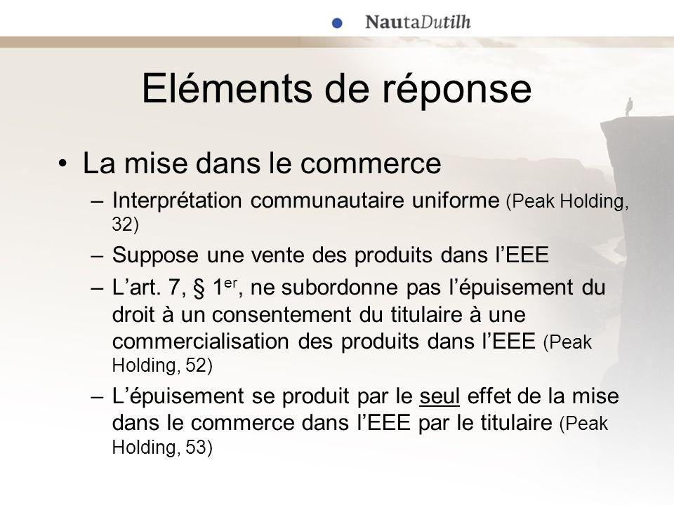 Eléments de réponse La mise dans le commerce –Interprétation communautaire uniforme (Peak Holding, 32) –Suppose une vente des produits dans lEEE –Lart