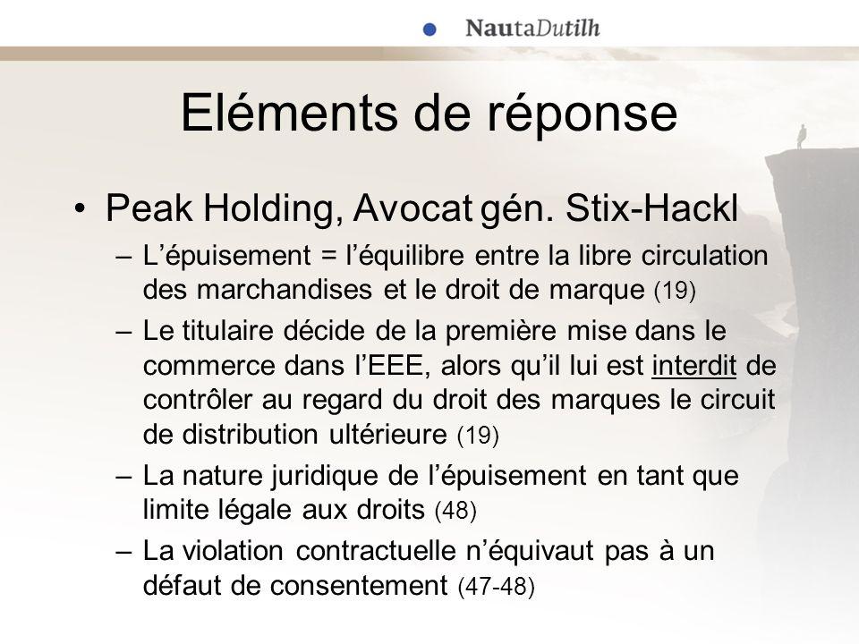 Eléments de réponse Peak Holding, Avocat gén. Stix-Hackl –Lépuisement = léquilibre entre la libre circulation des marchandises et le droit de marque (