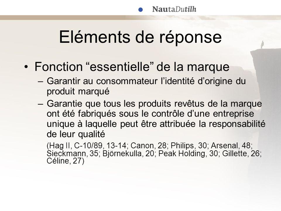 Eléments de réponse Fonction essentielle de la marque –Garantir au consommateur lidentité dorigine du produit marqué –Garantie que tous les produits r