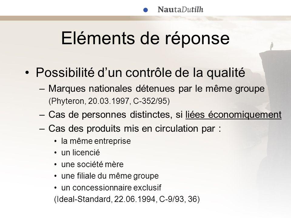 Eléments de réponse Possibilité dun contrôle de la qualité –Marques nationales détenues par le même groupe (Phyteron, 20.03.1997, C-352/95) –Cas de pe