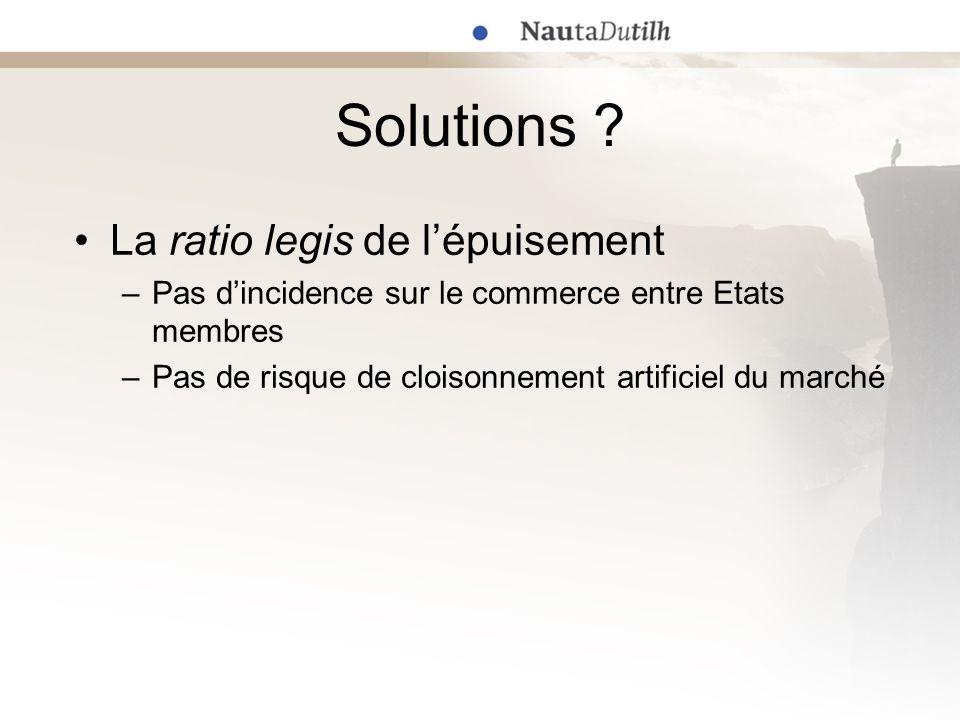 Solutions ? La ratio legis de lépuisement –Pas dincidence sur le commerce entre Etats membres –Pas de risque de cloisonnement artificiel du marché