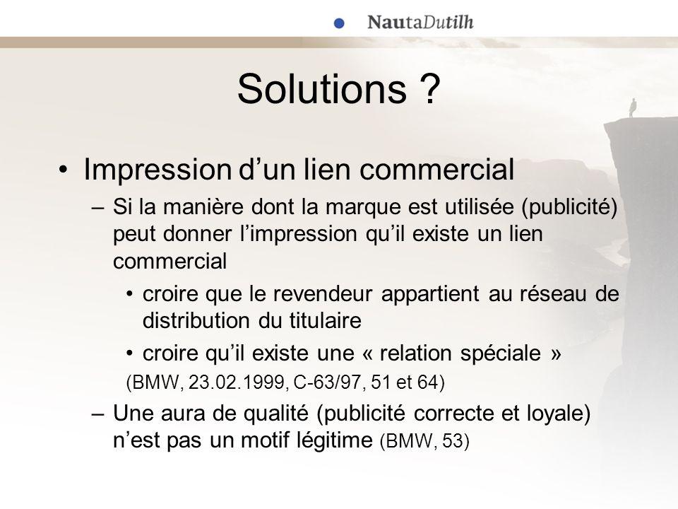Solutions ? Impression dun lien commercial –Si la manière dont la marque est utilisée (publicité) peut donner limpression quil existe un lien commerci