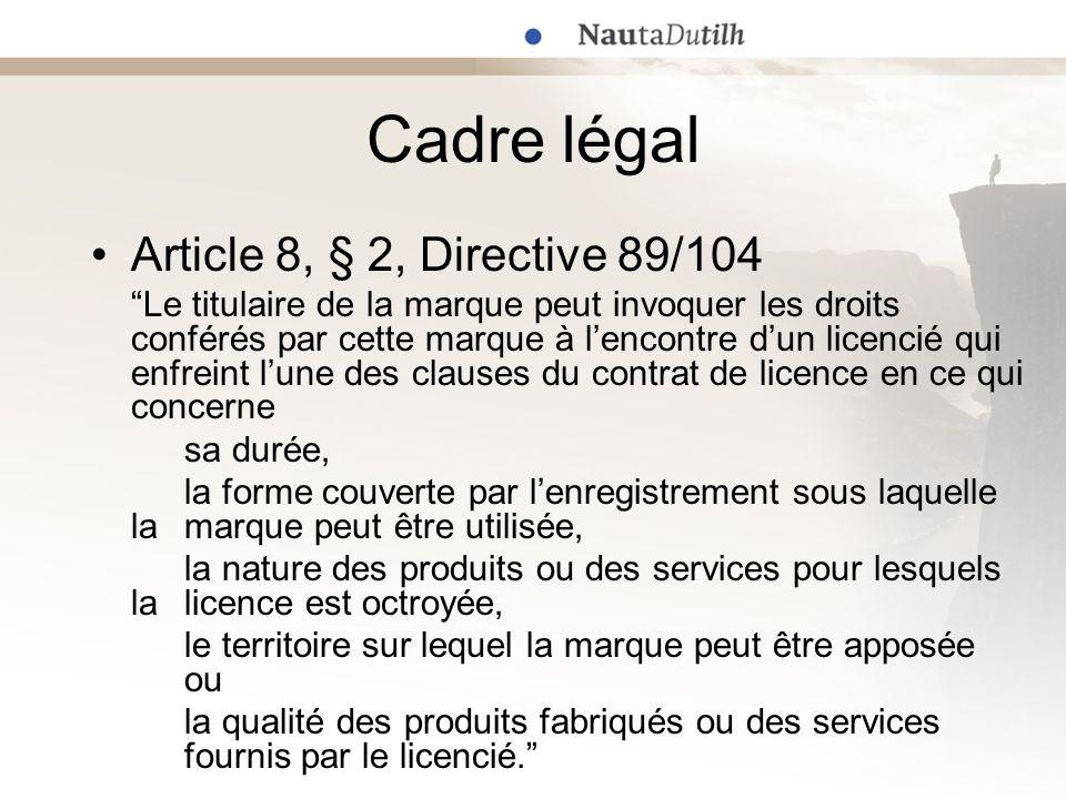 Cadre légal Article 8, § 2, Directive 89/104 Le titulaire de la marque peut invoquer les droits conférés par cette marque à lencontre dun licencié qui