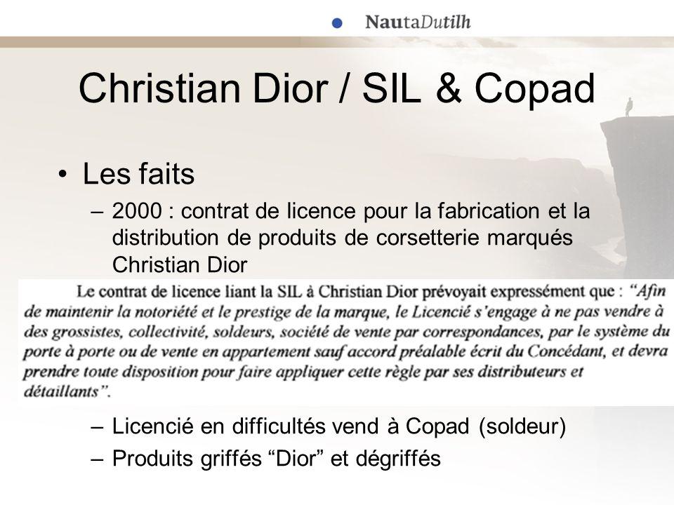 Les faits –2000 : contrat de licence pour la fabrication et la distribution de produits de corsetterie marqués Christian Dior –Licencié en difficultés