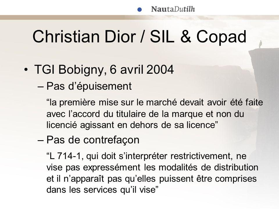 Christian Dior / SIL & Copad TGI Bobigny, 6 avril 2004 –Pas dépuisement la première mise sur le marché devait avoir été faite avec laccord du titulair