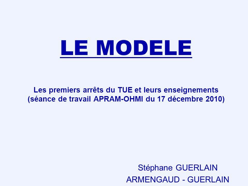 LE MODELE Les premiers arrêts du TUE et leurs enseignements (séance de travail APRAM-OHMI du 17 décembre 2010) Stéphane GUERLAIN ARMENGAUD - GUERLAIN