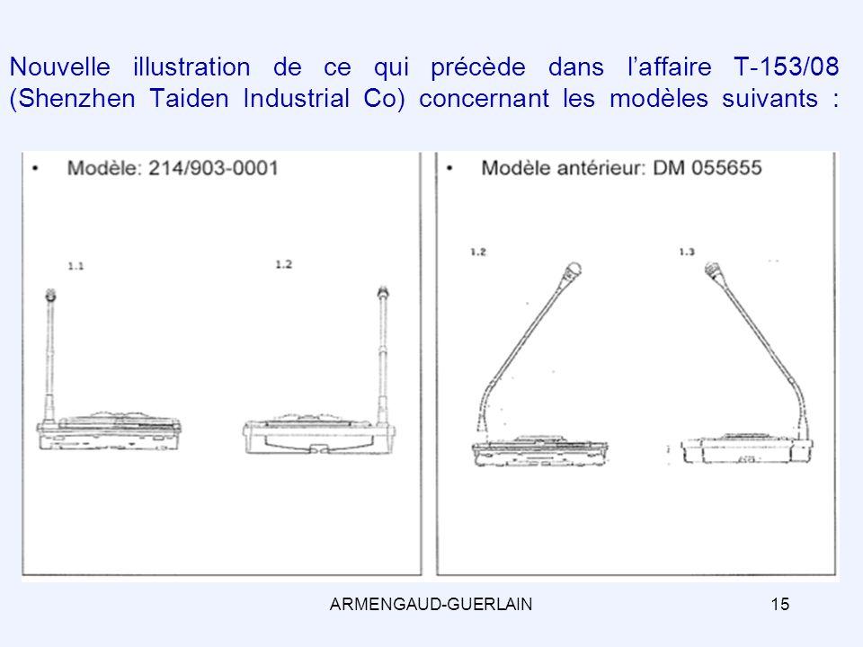 Nouvelle illustration de ce qui précède dans laffaire T-153/08 (Shenzhen Taiden Industrial Co) concernant les modèles suivants : 15ARMENGAUD-GUERLAIN