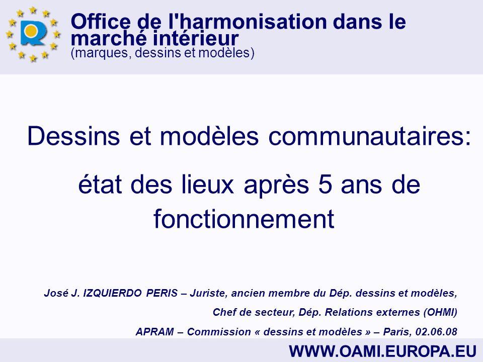 Office de l'harmonisation dans le marché intérieur (marques, dessins et modèles) WWW.OAMI.EUROPA.EU Dessins et modèles communautaires: état des lieux
