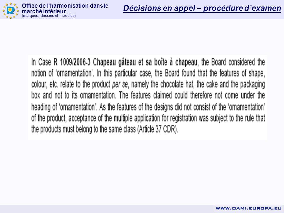 Office de l'harmonisation dans le marché intérieur (marques, dessins et modèles) Décisions en appel – procédure dexamen