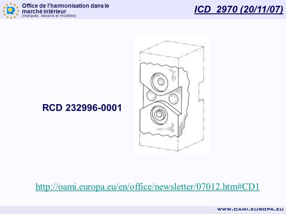 Office de l'harmonisation dans le marché intérieur (marques, dessins et modèles) ICD 2970 (20/11/07) http://oami.europa.eu/en/office/newsletter/07012.