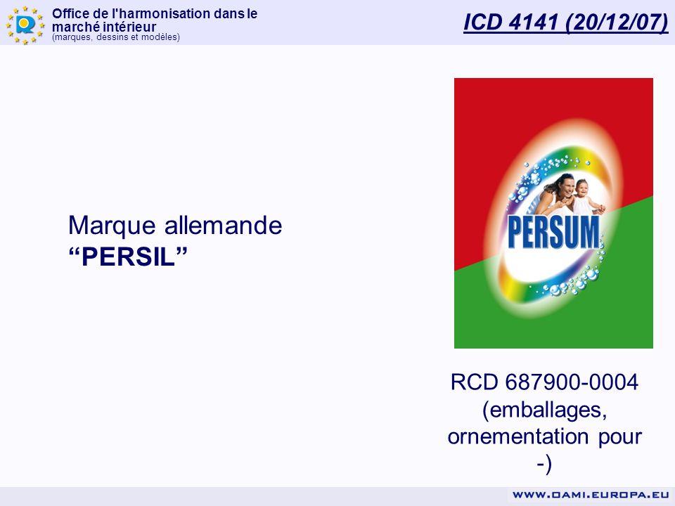 Office de l'harmonisation dans le marché intérieur (marques, dessins et modèles) ICD 4141 (20/12/07) RCD 687900-0004 (emballages, ornementation pour -