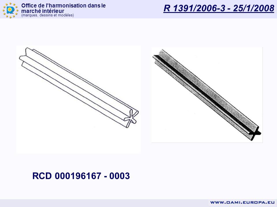 Office de l'harmonisation dans le marché intérieur (marques, dessins et modèles) R 1391/2006-3 - 25/1/2008 RCD 000196167 - 0003