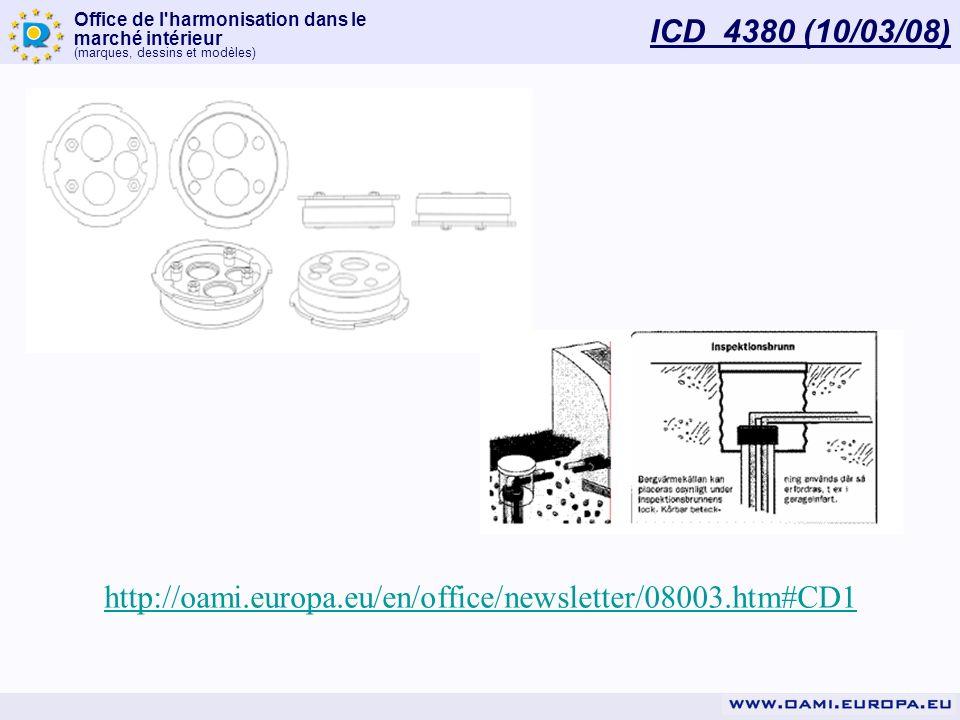 Office de l'harmonisation dans le marché intérieur (marques, dessins et modèles) ICD 4380 (10/03/08) http://oami.europa.eu/en/office/newsletter/08003.