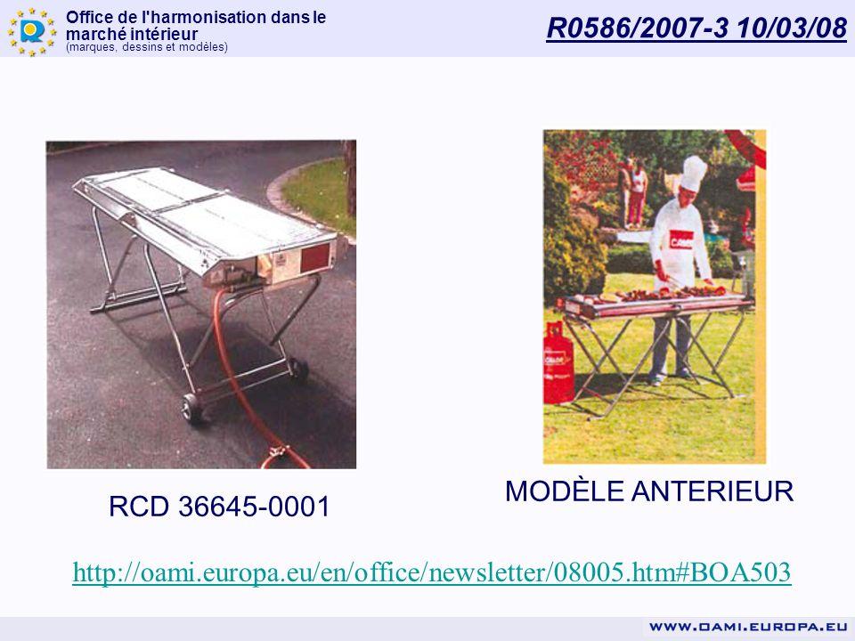 Office de l'harmonisation dans le marché intérieur (marques, dessins et modèles) R0586/2007-3 10/03/08 http://oami.europa.eu/en/office/newsletter/0800