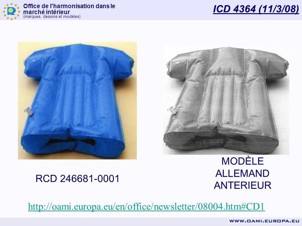 Office de l'harmonisation dans le marché intérieur (marques, dessins et modèles) ICD 4364 (11/3/08) RCD 246681-0001 MODÈLE ALLEMAND ANTERIEUR http://o