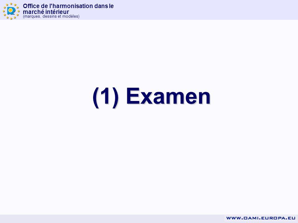 Office de l'harmonisation dans le marché intérieur (marques, dessins et modèles) (1) Examen